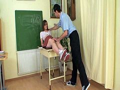 School girl pamered with teacher's cock in class. She seems to be stressed with hr lessons but her professor surely is encourage as he fucks her deep inside her tight teen pussy.