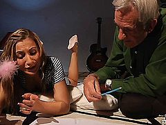This grandpa must teach this teeny girl english, but her horny mind wants to learn something else: sex!Young girl's appetizing naked body turns on the old cock, she takes care of his toy with a wild blowjob and a hot deep throat. Her young cute ass looks amazing in doggy-style next to the wrinkled guy. That young mouth received a load of cum from the his old dick.