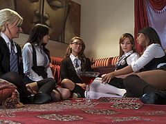 Groups sex schoolgirls lose their uniforms and get fucking nasty with their schoolmates! Pussy licking and finger fucking galore!!