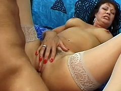 Dirty mature lady goes really wild with a huge dick stroking deep into her hairy cunt