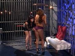 Some old school fetish scene with sexy lesbians