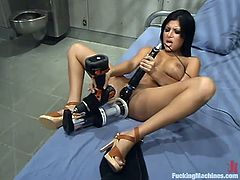 Gorgeous brunette Sativa Rose is having fun alone in a prison. She shows off her terrific body and then gets fucked by a sex machine.