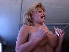 Sizzling huge tits momma strips to get horny daddy's nasty attention.