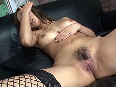 Luscious Japanese wench is wearing fishnet stockings while filming in arousing Jav HD porn video. She gets her pussy finger fucked while sucking hard dick deepthroat.