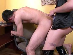 Big boobed brunette ladyboy lets her officemate suck her stiff shaved cock. Then shemale bends her lover over and fucks his dirty asshole doggystyle.