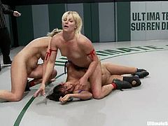 Isis Love, Vendetta, Rain DeGrey, Tia Ling and Tara Lynn Foxx are having a nude battle on tatami. The lesbians wrestle with each other and then make love right there.