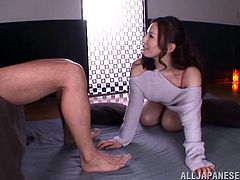 Amazingly hot Japanese babe shows off her hot ass. Then she gives a blowjob in unimaginable poses and rides a dick.