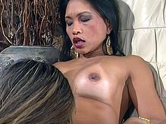 Look, how messy this babes's room is! She and her gf are probing out clothes, but soon, they decide they look a hell lot better naked! Then, one of the Asian babes takes a sit on the arm chair, spreads her legs wide and her gf begins to play wit her pussy. She slides her fingers in that shaved cunt and licks it!