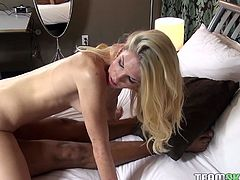 Sexy light haired girl is all naked rides her boy's fat cock in reverse cowgirl pose. Beauty gives blowjob and gets her tight pinkish cunt fucked doggystyle.