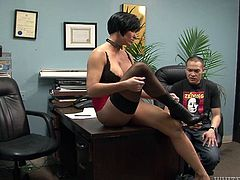 Tough mistress goes hard on poor guy. She orders him to pull down his jeans. She then kicks his balls so he squeezes. He barely can take the pain she causes him. But he nails it.
