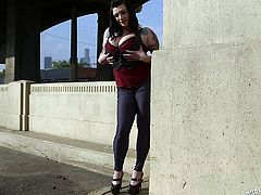 Chubby whore Scarlet is rubbing her big boobs on a bridge on rock music. After she taunted us she wants to show more. Scarlet calls us somewhere more private where she takes care of a guy. The bitch kneels and swallows his penis before going on top of the guy to ride him with her big booty