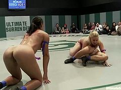 Hollie Stevens, Wenona, Princess Donna Dolore, Ariel X and Tia Ling are fighting with each other on tatami. They struggle with each other energetically and then show their nice fingering skills.