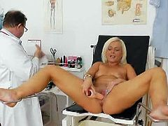 Simira gets naked for a pussy exam. Her gynecologist uses a pussy stretcher to have a better look inside. Then, he gives her a vibrator to get off by herself.