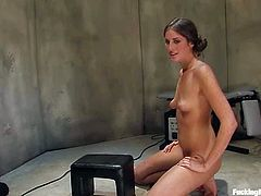 Divine babe Kara Dax gets naked and lies down to feel the passion that is coming out from that fucking mechanism. She could have cummed more, i she did not get tired!