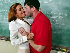 Lusty redhead teacher Veronica Avluv gives deepthroat blowjob