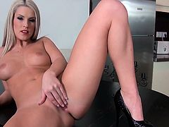Stunning blondie Blanche Bradburry is about to get a huge cock in the kitchen. Honey blows it and then some poses begin!