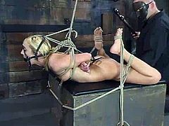 Juicy blond babe is feeling some pleasant pain. Babe gets belted and her legs are spread with ropes. Then he sticks his finger in her muff and makes her moan.