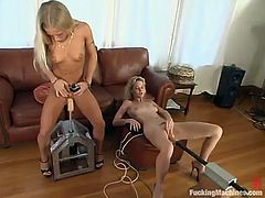 Kylie Wilde and Phoenix take their clothes off in a living room to have some lesbian fun. They lick each others pussies and then get toyed by fucking machines.