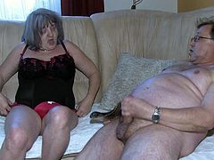 Hardcore granny porn video presented by Old Nanny. Grey mature woman Katerina is wearing black corset while filming in provocative sex video. Katerina bends over the couch getting nailed bad doggy style. Later on she is fucked in sideways position.