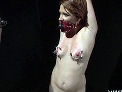 Slutty chick madly loves BDSM fuck scenes. She has got pain fetish which mean she loves when she is caused pain. So kinky chick gets her hands tied up and her tits pinned with special BDSM tools.