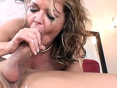 Nasty milf enjoys a large dick sliding deep down her throat in amazingly hot oral show