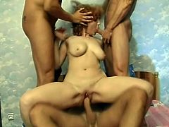 Four horny fuckers can not wait to use they cocks and make that nasty redhead slut pleased, she is ready for wild and long sex and.
