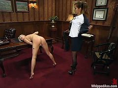 She did not know that ehr boss is a lesbian. So she gets naked for her and lets her tie her up and fuck her doggy style with a huge strapon!