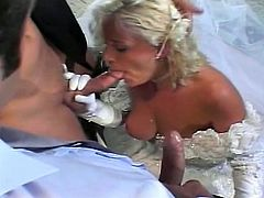 Young blonde on her wedding dress fucked up by two guys. The guys penetrate all her hot holes extremely