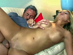 Natalie Vegas is a passionate sweet blonde with perfect fake tits and tight hairless pussy. She gives it to older guy. She sucks his dick and then gets her vagina stuffed full of cock.