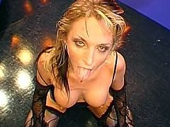 Needy blonde plays really nasty while swallowing huge loads and feeling it them deep