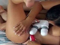 Pretty lesbian Misty and Sian love being together especially when they have lots of toys to play with and in this free video they make good use of dildos and vibrators for extreme pleasure.