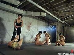 Four girls are dominated and blindfolded in this lesbian BDSM action video by one dominant vixen who has a great time playing with them.