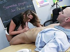Sultry temptress Alanah Rae with giant tits is a blowjob addict that loves Johnny Sinss hard rod