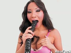 Come and see how the alluring brunette temptress Asa Akira as she sucks a dildo and stuffs it in her ass while assuming some very interesting poses. She's ready to be VERY bad.