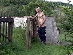 Being a city boy, my son always liked beautiful, slutty women, but he was never man enough, to satisfy them. So when I found his blonde gf masturbating in my backyard, I thought, she should get fucked country side style. I stalked her for a while and then, went right between her superb thighs!