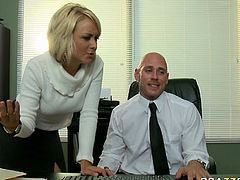 While Briana's boss is talking on a phone she strokes his dick intensively. She later takes off black mini skirt exposing her sexy body. She doesn't let him work seducing for sex in the office.