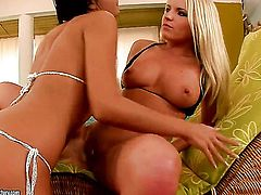 Blonde Brittany Spring with big jugs makes her sex fantasies a come true with lesbian Candy Alexa