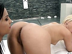 Brandy Smile doing lewd things with Eve Angel in girl-on-girl action