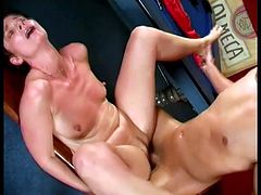 Short hair slut is sucking that hard cock and makes this horny fucker insane before he puts her on that pool table and destroy her vagina.