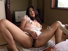 Lustful Japanese bitch makes out with some dude and allows him to fondle her body. Then she takes his schlong into her cunt and gets it pounded in side-by-side position.