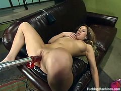 Gorgeous brown-haired chick Isabella Soprano is having fun with a fucking machine indoors. She takes the device into her cooch and soon gets the best orgasm in her life.