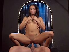 Dirty Indian whore Jayna Oso loves hardcore sex. First she rubs her nice shaved cunt to get it wet for big white cock so insatiable slut can ride it in cowgirls pose