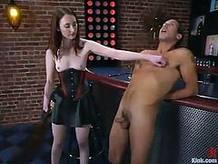 Salacious dominatrix Kendra James is punishing Sebastian indoors. She binds the guy and decorates his prick with clothespegs and then humiliates him and drills his butt with a strapon.