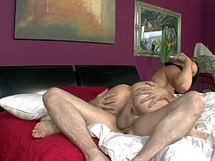 Experienced black haired house maid with natural tits and french manicure gives awesome deep throat to boss in wild wet sixty nine with he eats her snatch like Lessie.