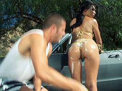 She makes one lucky stud insanely horny with her lusty body, covered in soap and water, so he rewards her with a hardcore, outdoor banging.