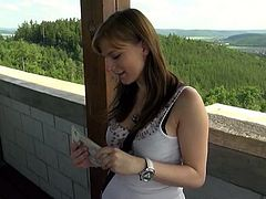 Cute girl with an engaging smile shows her perky tits outdoors. Then she agrees to fuck for cash. She gets her smooth pussy fucked nice and deep.