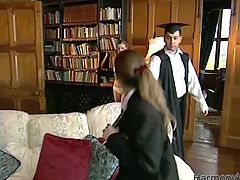 Skanky girls got seduced by horny dude right in the library. Blonde one got blindfolded and face fucked. Later in the video, she is screwed hard missionary style. Arousing Harmony Vision porn scene brought to you by Anysex.com
