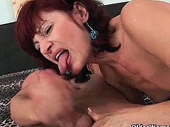Wanda is a German granny who welcomes a young stud in her bed. He bangs her really good and gives her a creamy load of cum to eat as well. She loves every moment.
