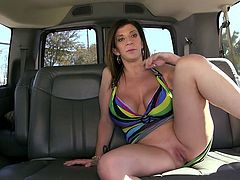 Shameless MILF with giant booty gives sloppy blowjob in bangbus