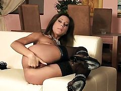 Anita Pearl with small tities and hairless beaver fingering her love box